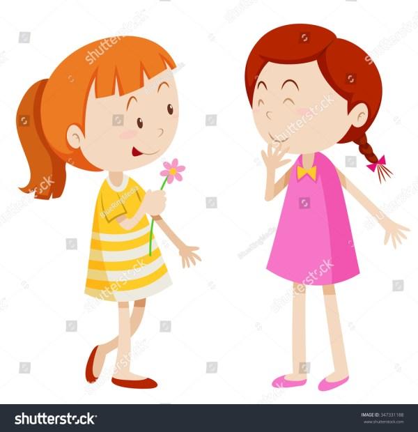 Two Girls Chatting Illustration Stock Vector 347331188 - Shutterstock