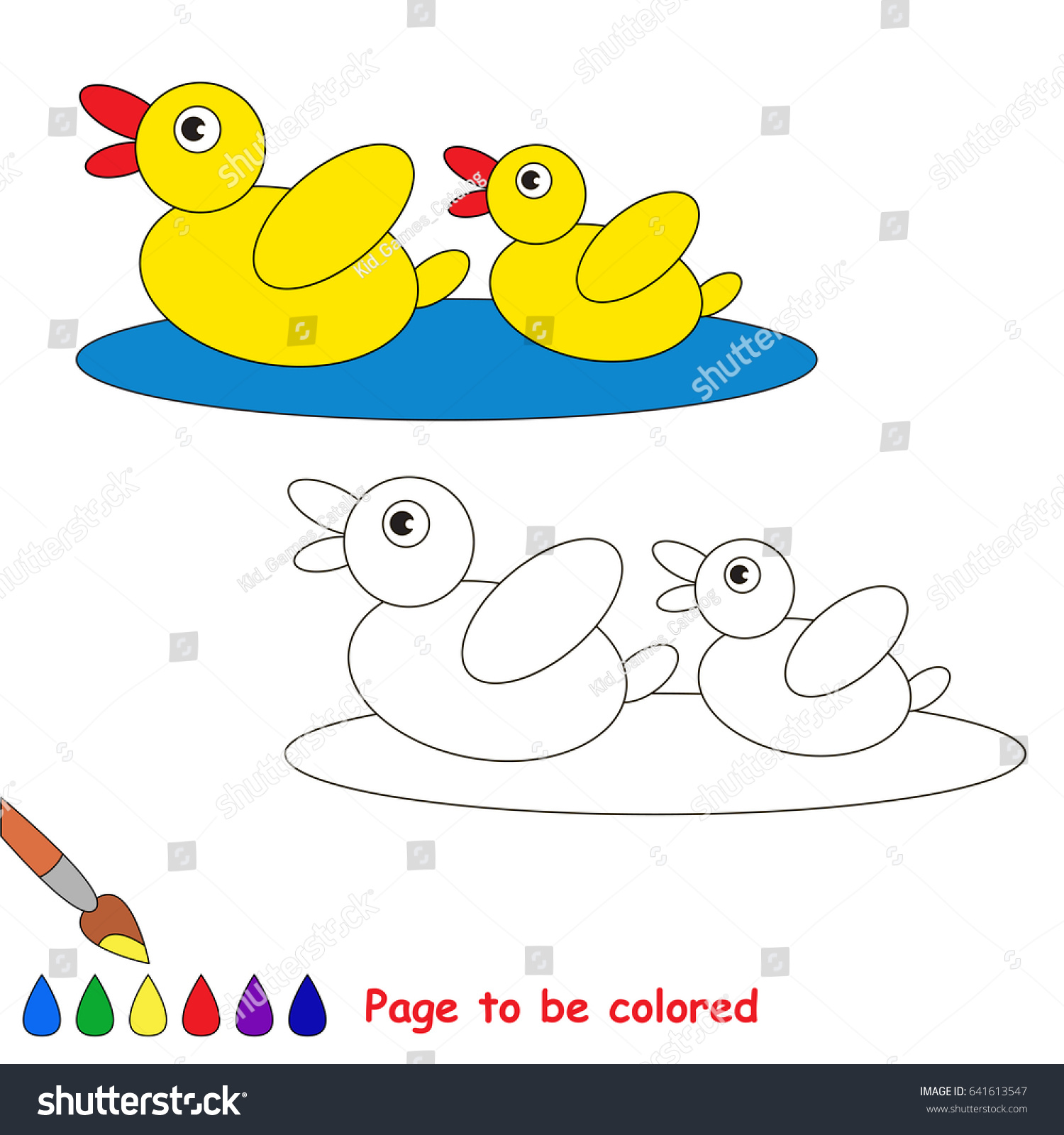 Two Yellow Ducks Be Colored Coloring Stock Vector