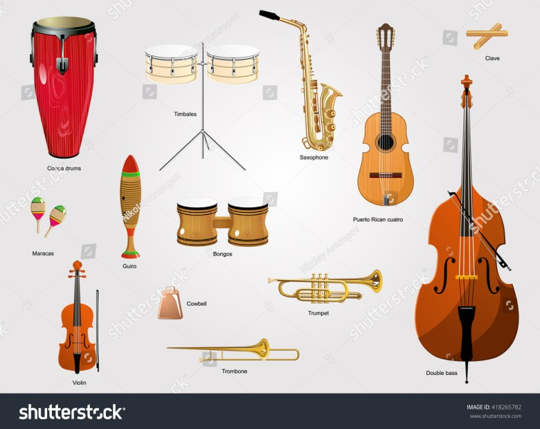 typical instruments salsa music salsa music stock-vektorgrafik