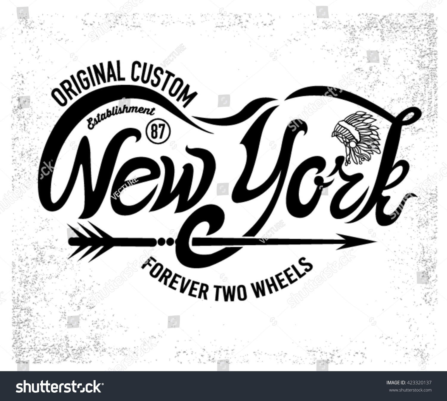 Typographic New York Writing Torcycle Emblem Stock