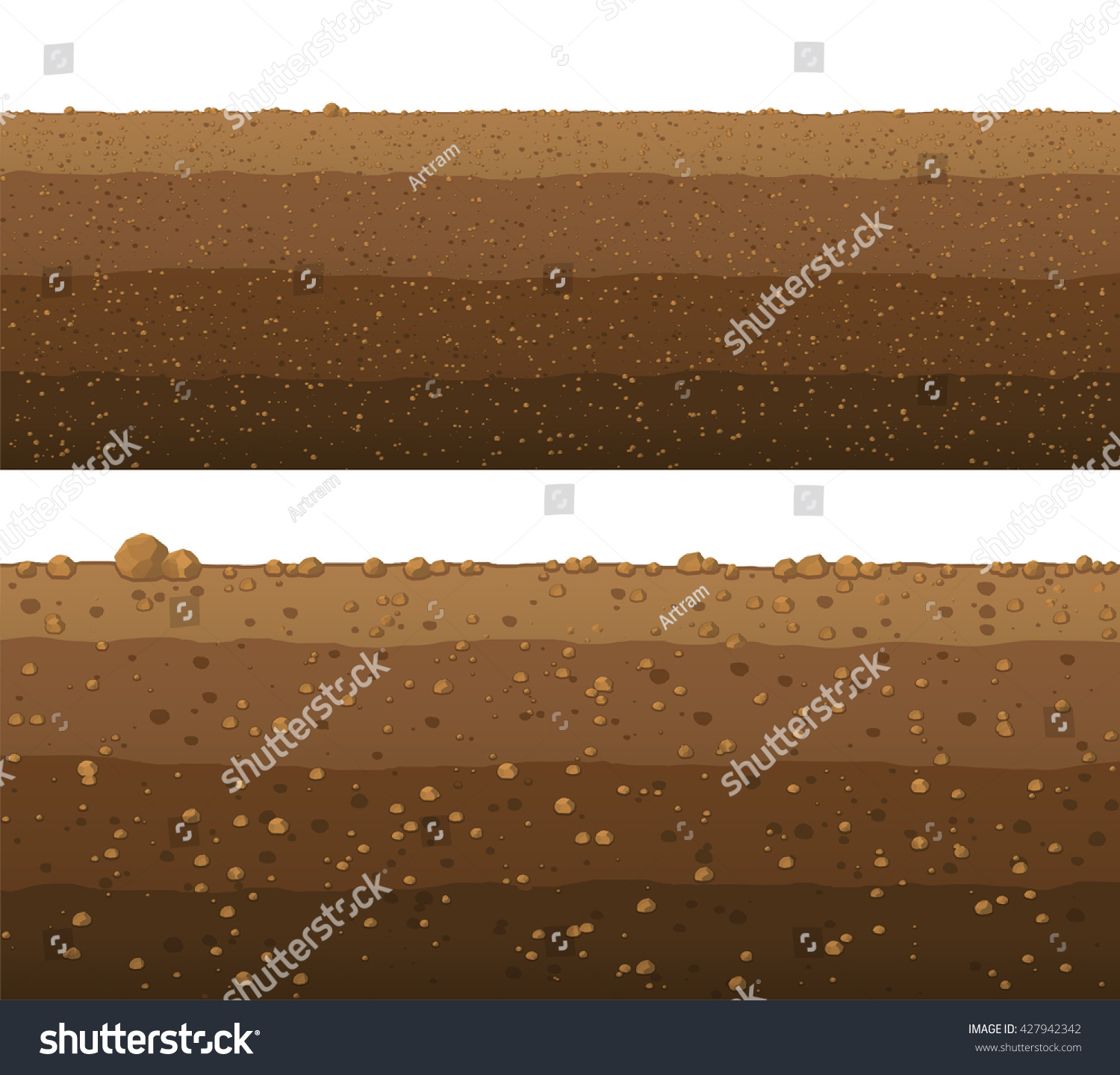 Underground Layers Of Earth Seamless Ground Surface