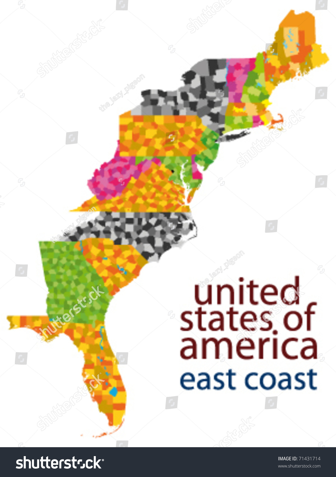 Usa East Coast Vector Map Stock Vector