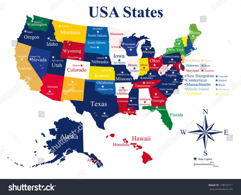 Vector De Stock Libre De Regalias Sobre Usa Map States Capital Cities178016711