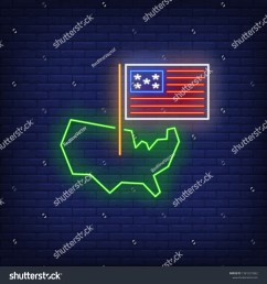 usa on map neon sign american borders national flag country 4th of july holiday vector illustration in neon style for festive independence day banners  [ 1500 x 1600 Pixel ]