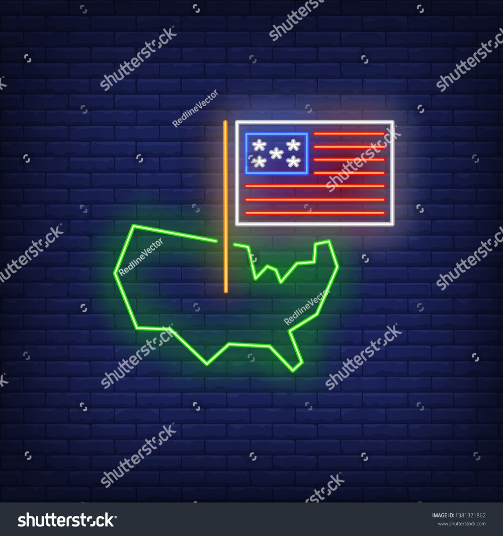 medium resolution of usa on map neon sign american borders national flag country 4th of july holiday vector illustration in neon style for festive independence day banners