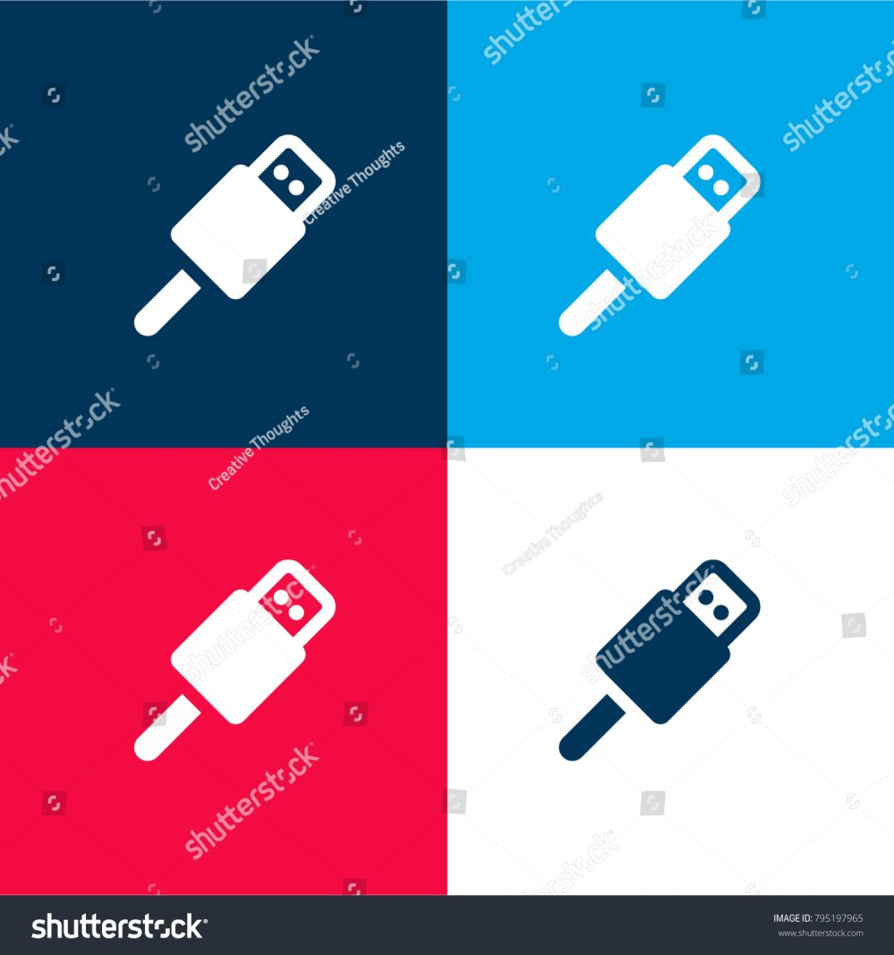 medium resolution of usb connector four color material and minimal icon logo set in red and blue