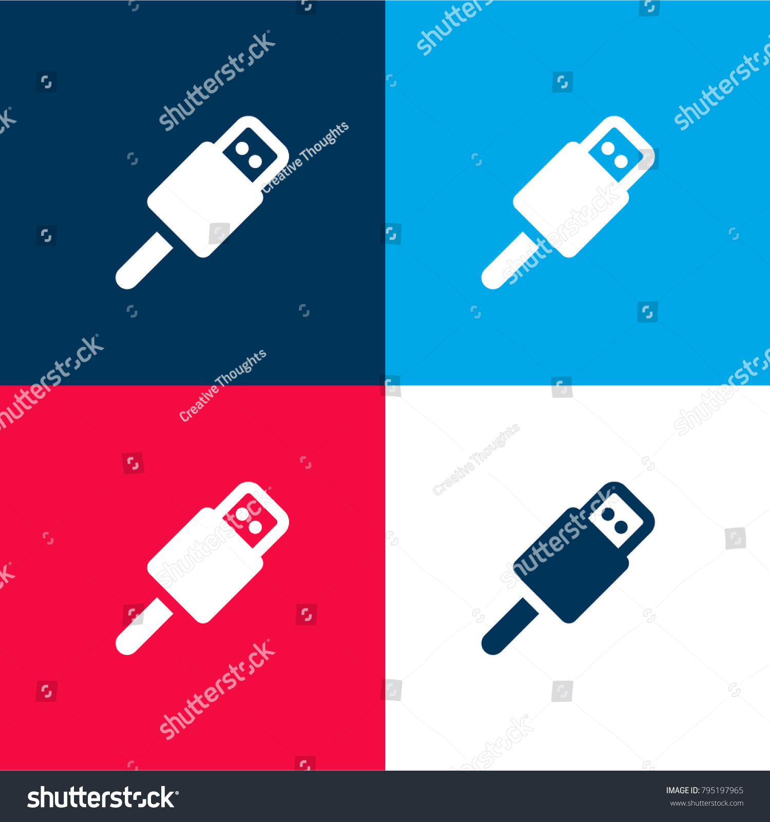 hight resolution of usb connector four color material and minimal icon logo set in red and blue