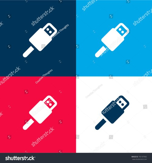 small resolution of usb connector four color material and minimal icon logo set in red and blue