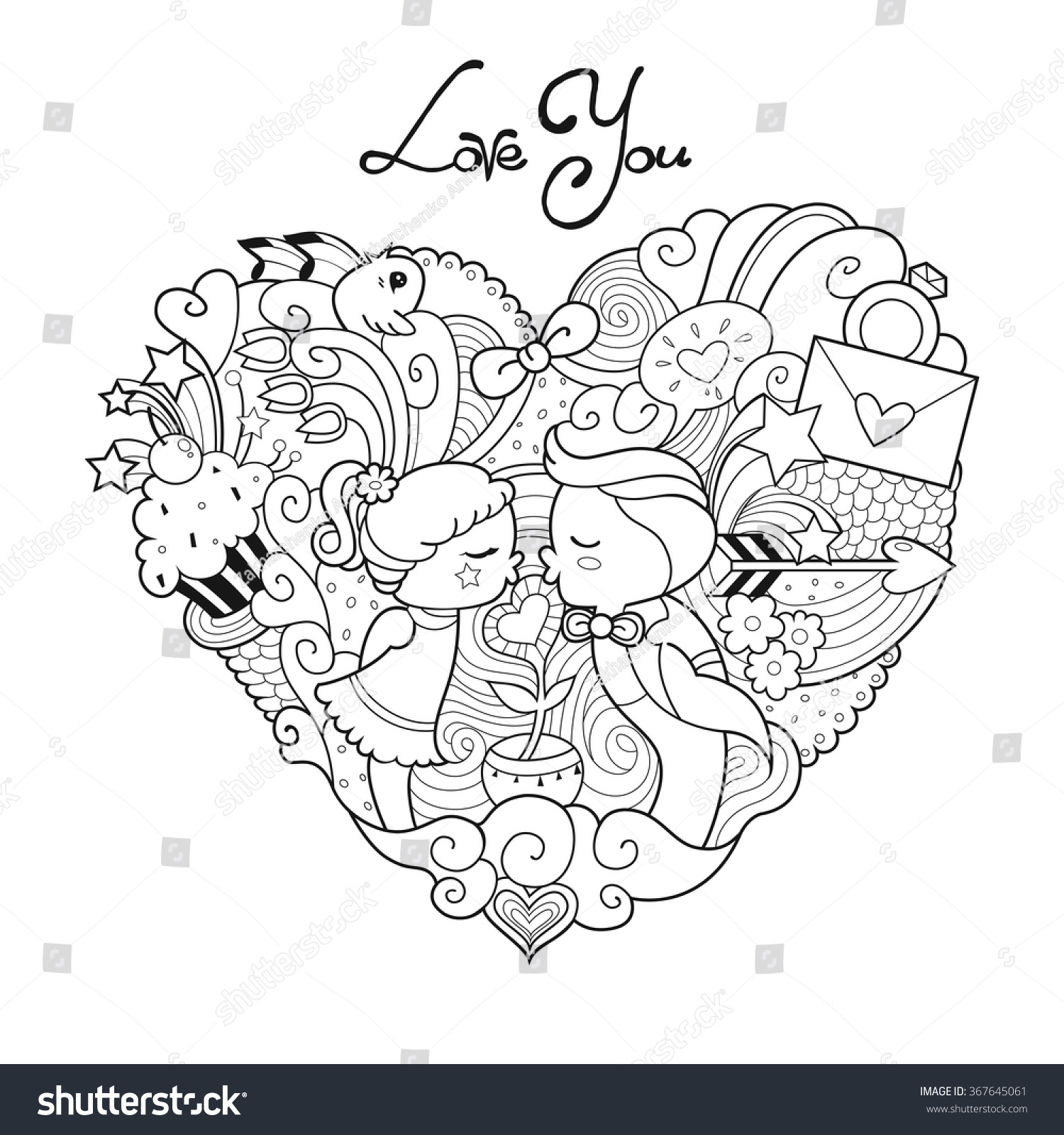 Valentines Day Card Adult Coloring Page Stock Vector