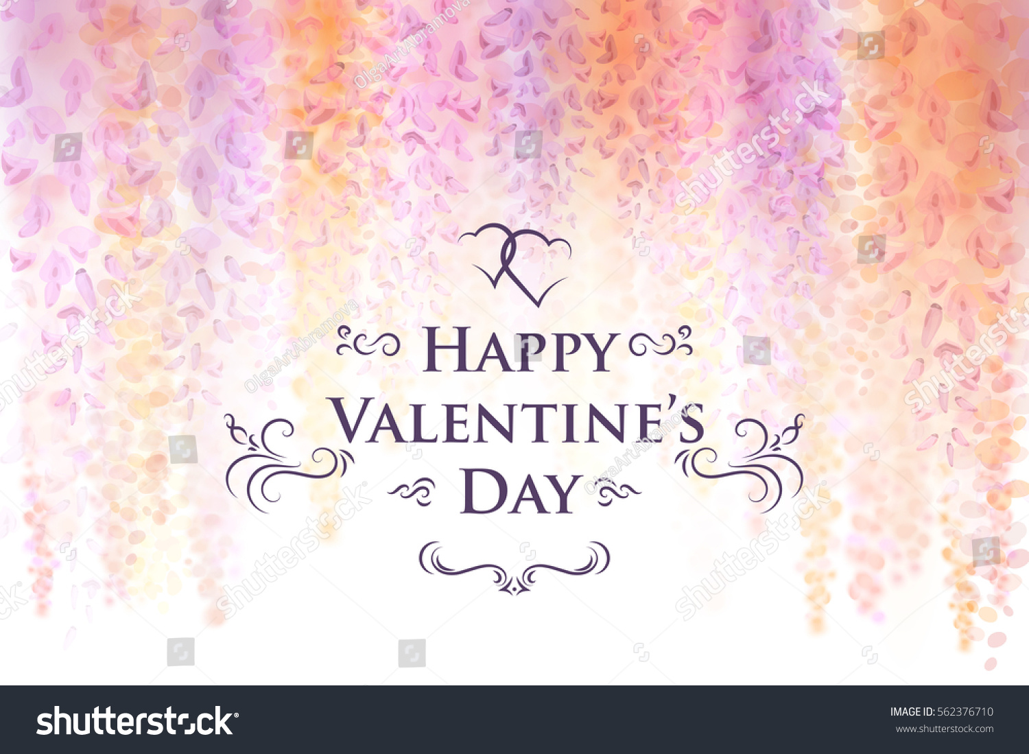 Valentines Day Card Template Gentle Flowers Stock Vector