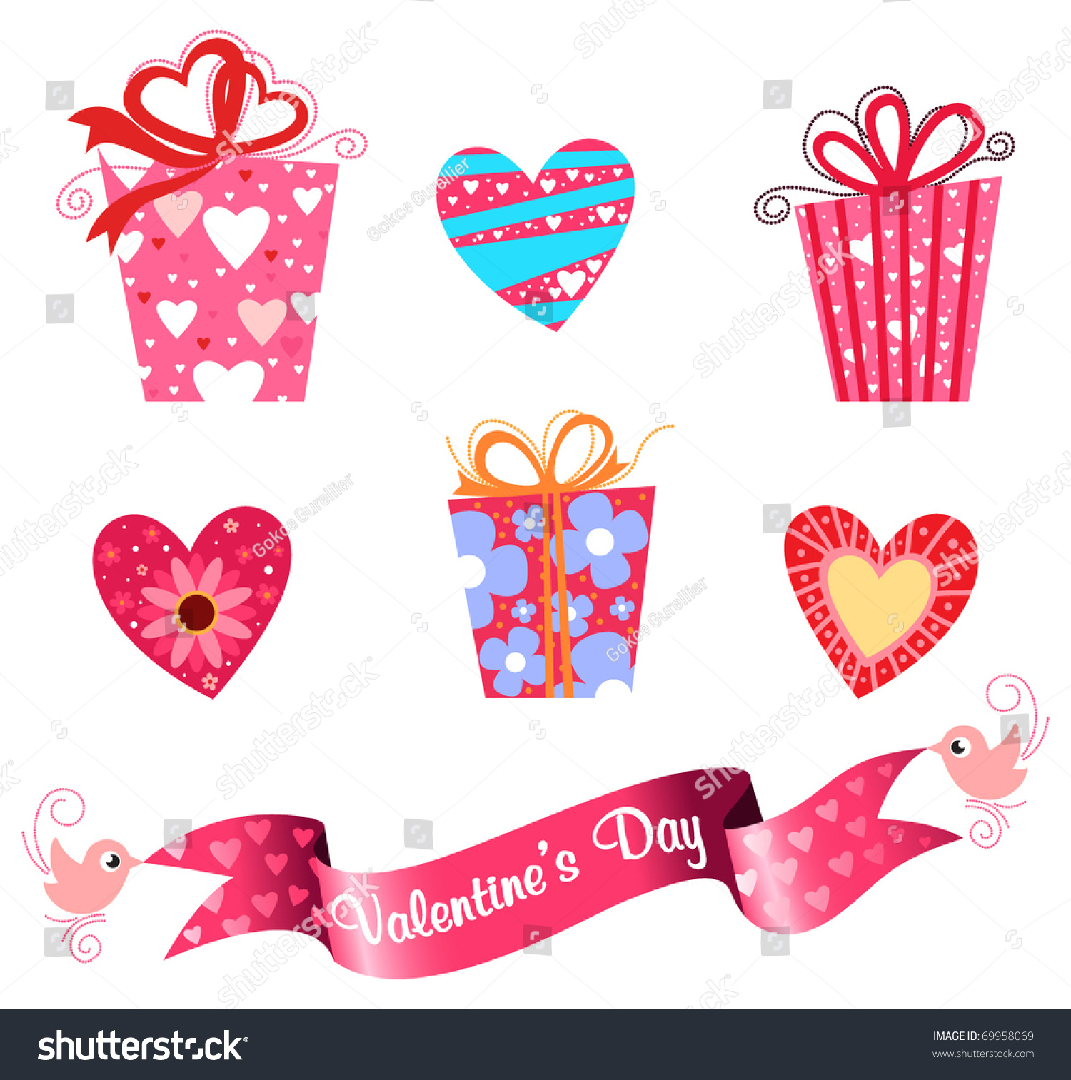Valentine S Day Icon Set Cute T Boxes Heart Shapes