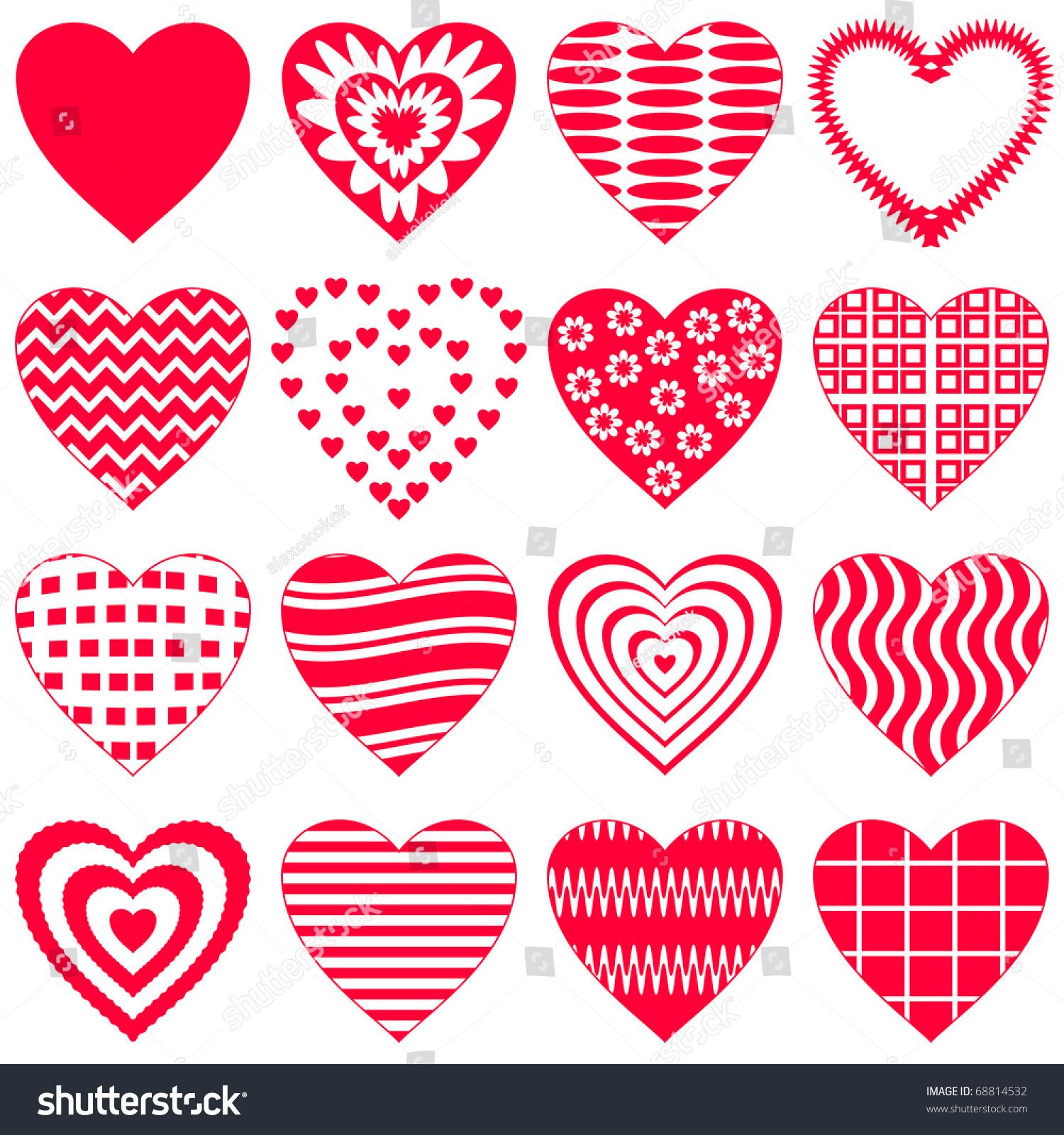 Valentine Vector Heart Love Symbol Pattern Set
