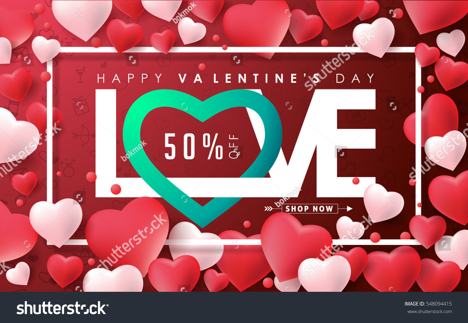 Valentines Day Sale Background Heart Shaped Stock Vector