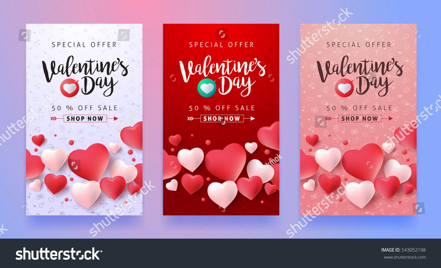 Valentines Day Sale Background Icon Set Stock Vector