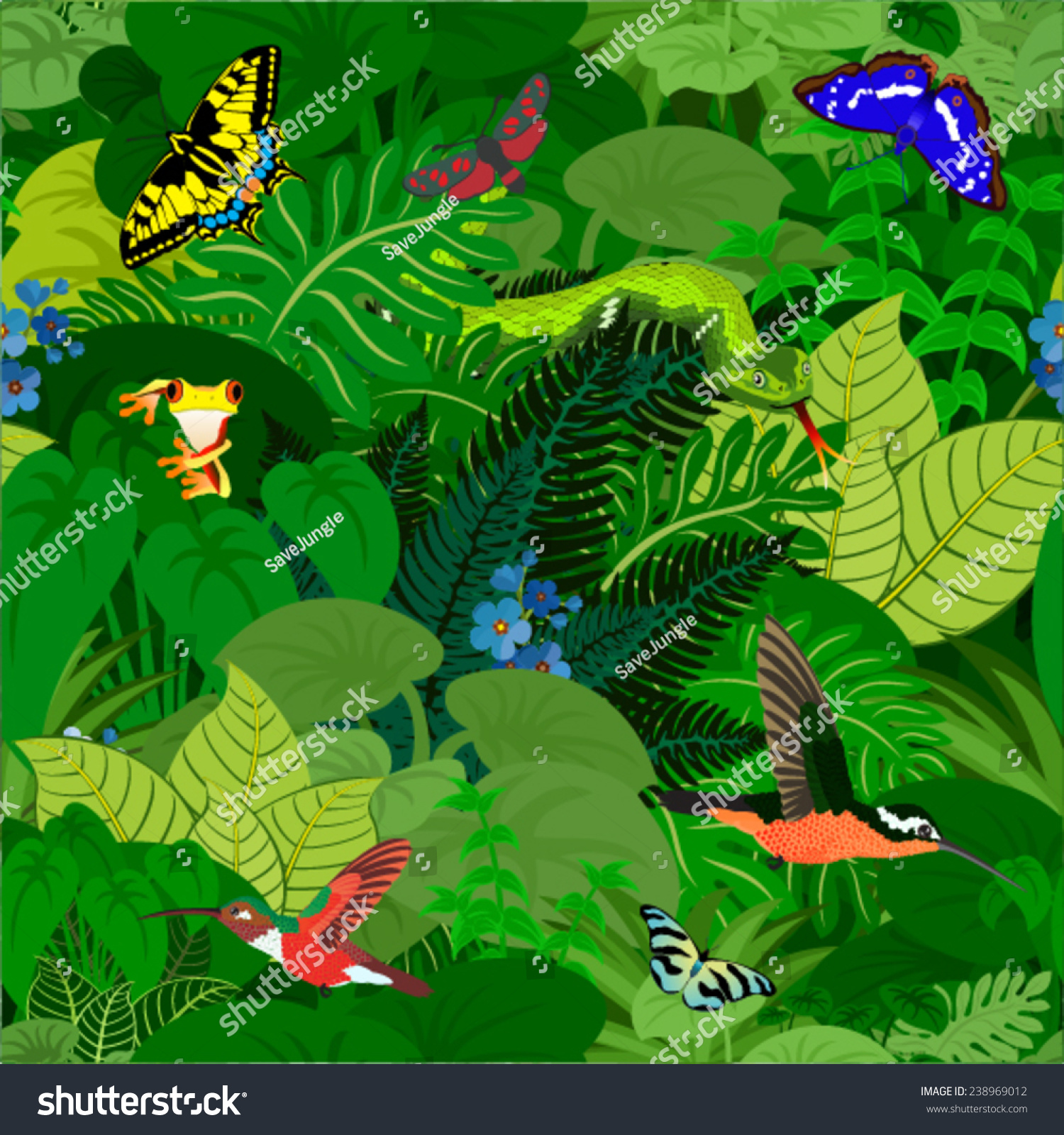 Vector Amazon Jungle Seamless Pattern With Animals