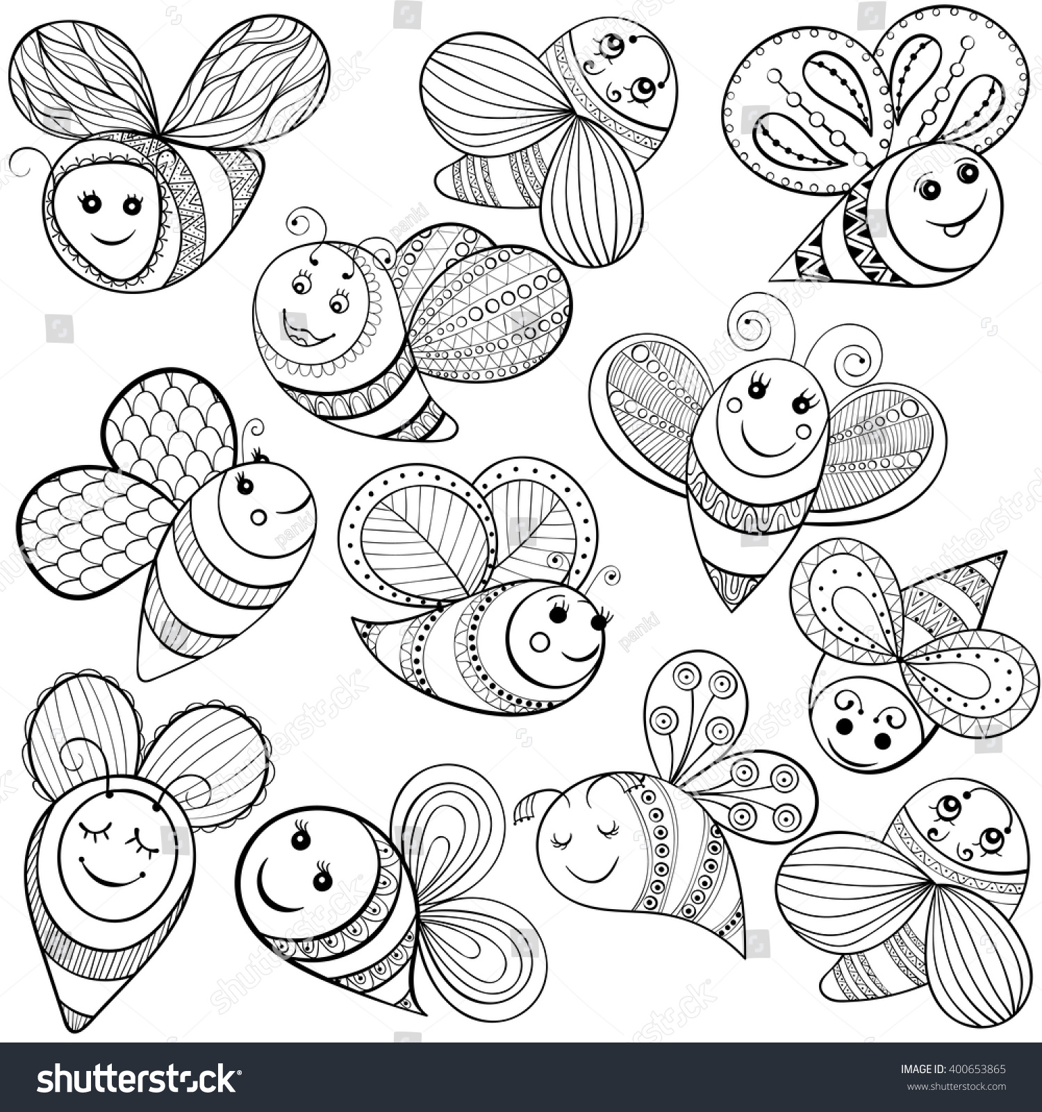 Vector Bees Adult Coloring Page Hand Stock Vector