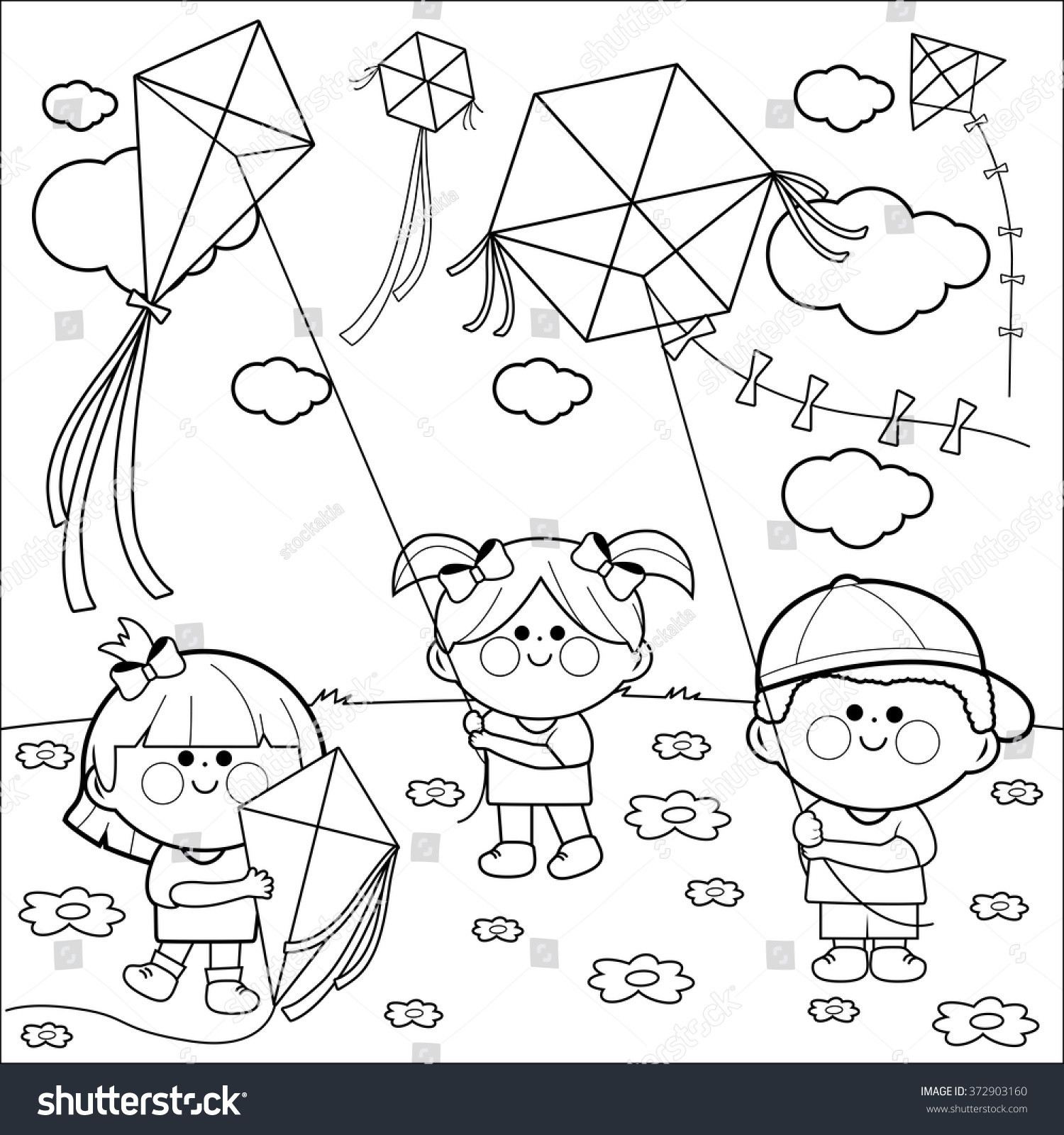 Vector Black White Illustration Children Playing Stock