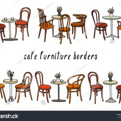 Retro Cafe Table And Chairs Sport Brella Recliner Chair Vector Border Set Hand Drawn Coffee Stock Royalty Free Of Tables Vintage Lovely Scenes Ink Drawing Graphic Style Beautiful Design Elements