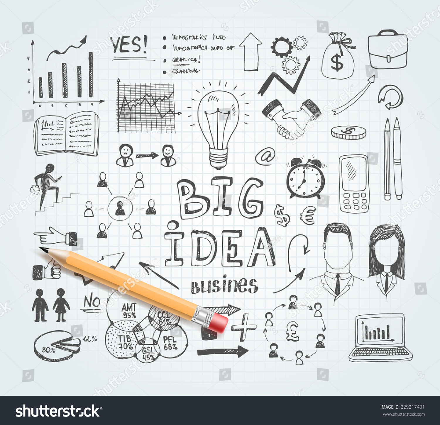hight resolution of vector business idea doodles with charts and diagrams and pencil