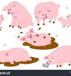 vector cartoon funny cute pigs pig clipart vector illustration [ 1500 x 1225 Pixel ]