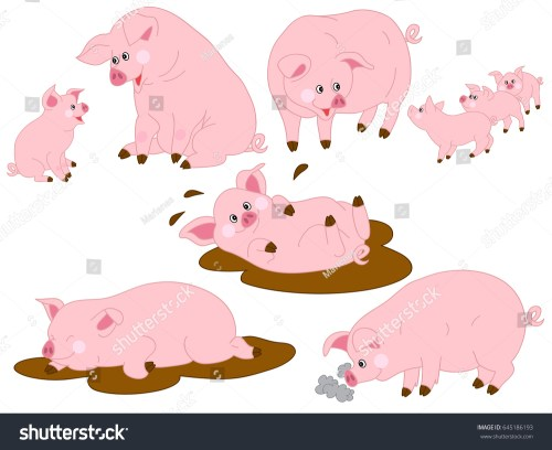small resolution of vector cartoon funny cute pigs pig clipart vector illustration