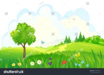 Vector Cartoon Illustration Beautiful Summer Green Stock