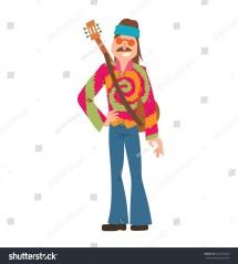 Hippie Hair Men Cartoon Characters