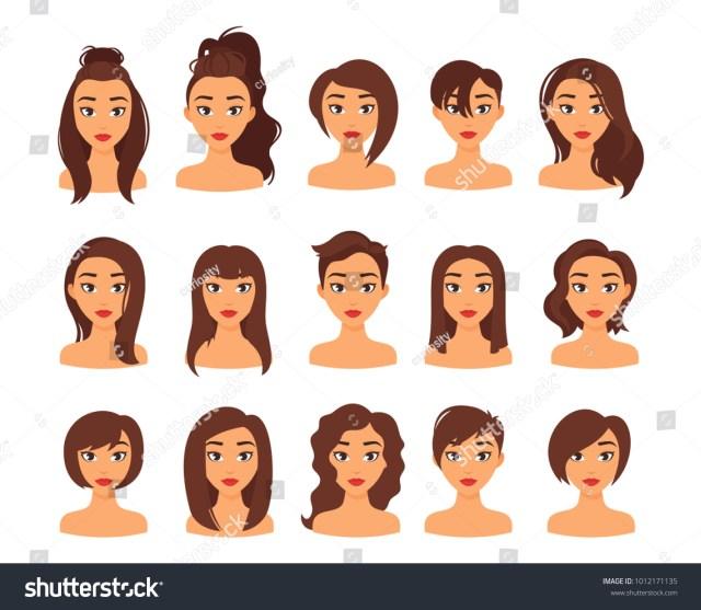 vector cartoon style illustration woman different stock