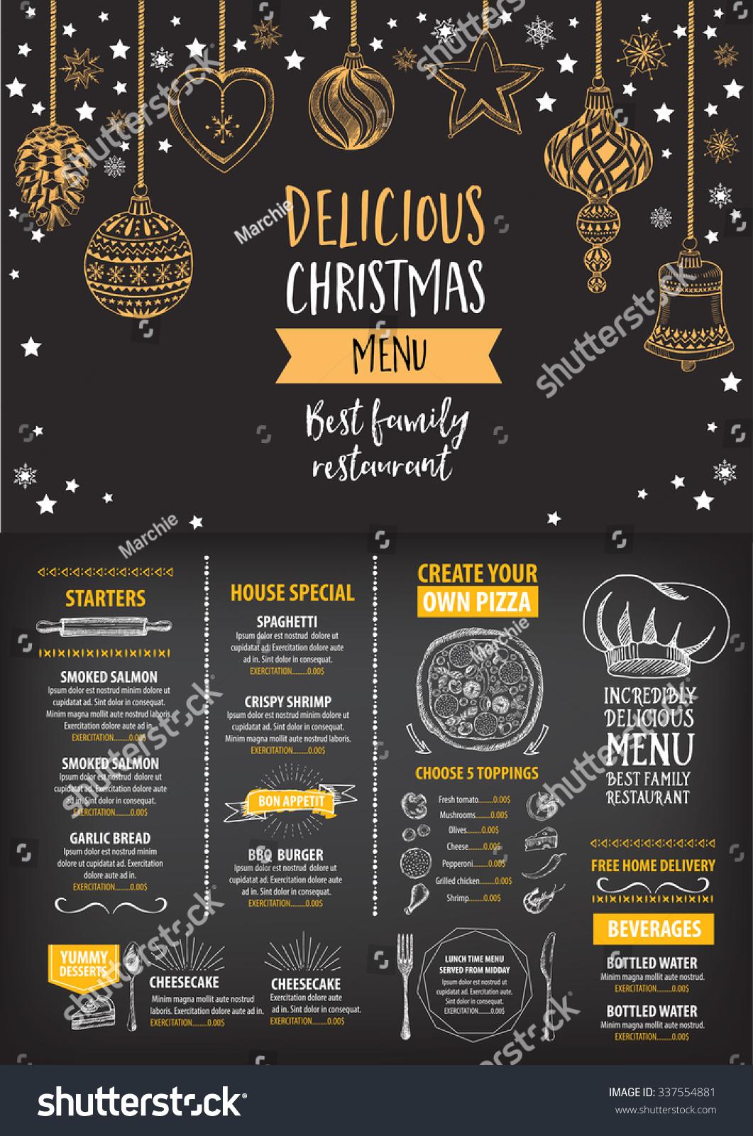 Vector Christmas Restaurant Brochure Menu Design Stock