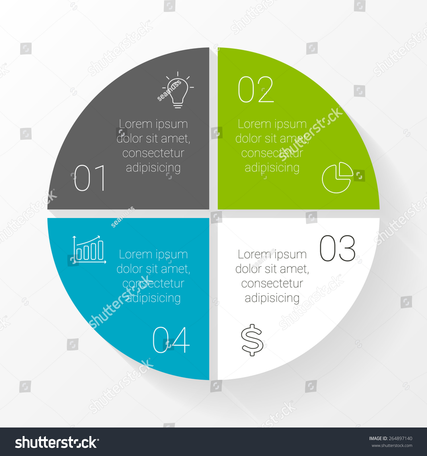 hight resolution of vector circle infographic template for cycle diagram graph presentation and round chart business concept with 4 options parts steps or processes