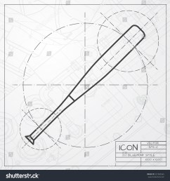 vector classic blueprint of baseball bat icon on engineer and architect background [ 1500 x 1600 Pixel ]