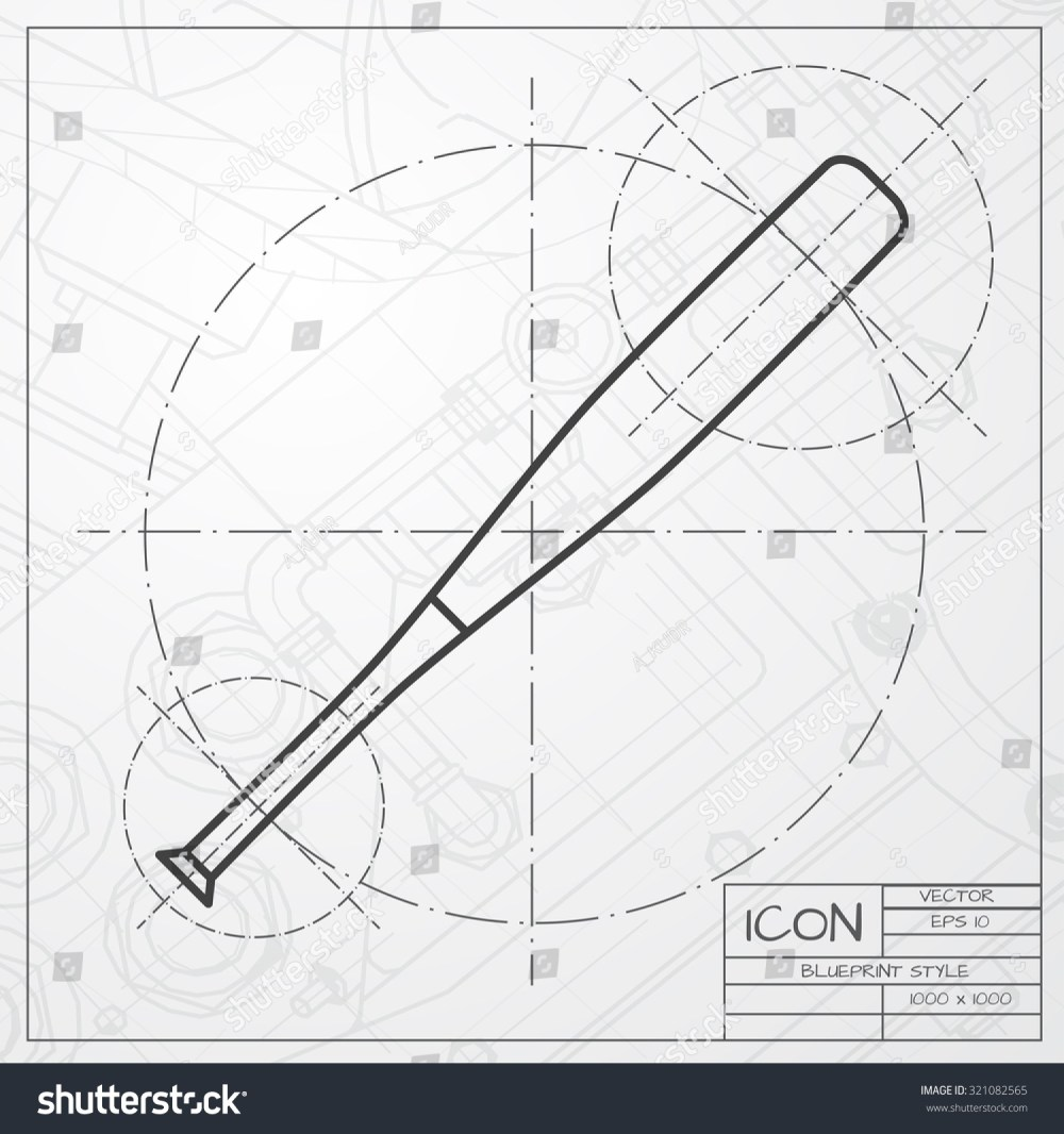 medium resolution of vector classic blueprint of baseball bat icon on engineer and architect background