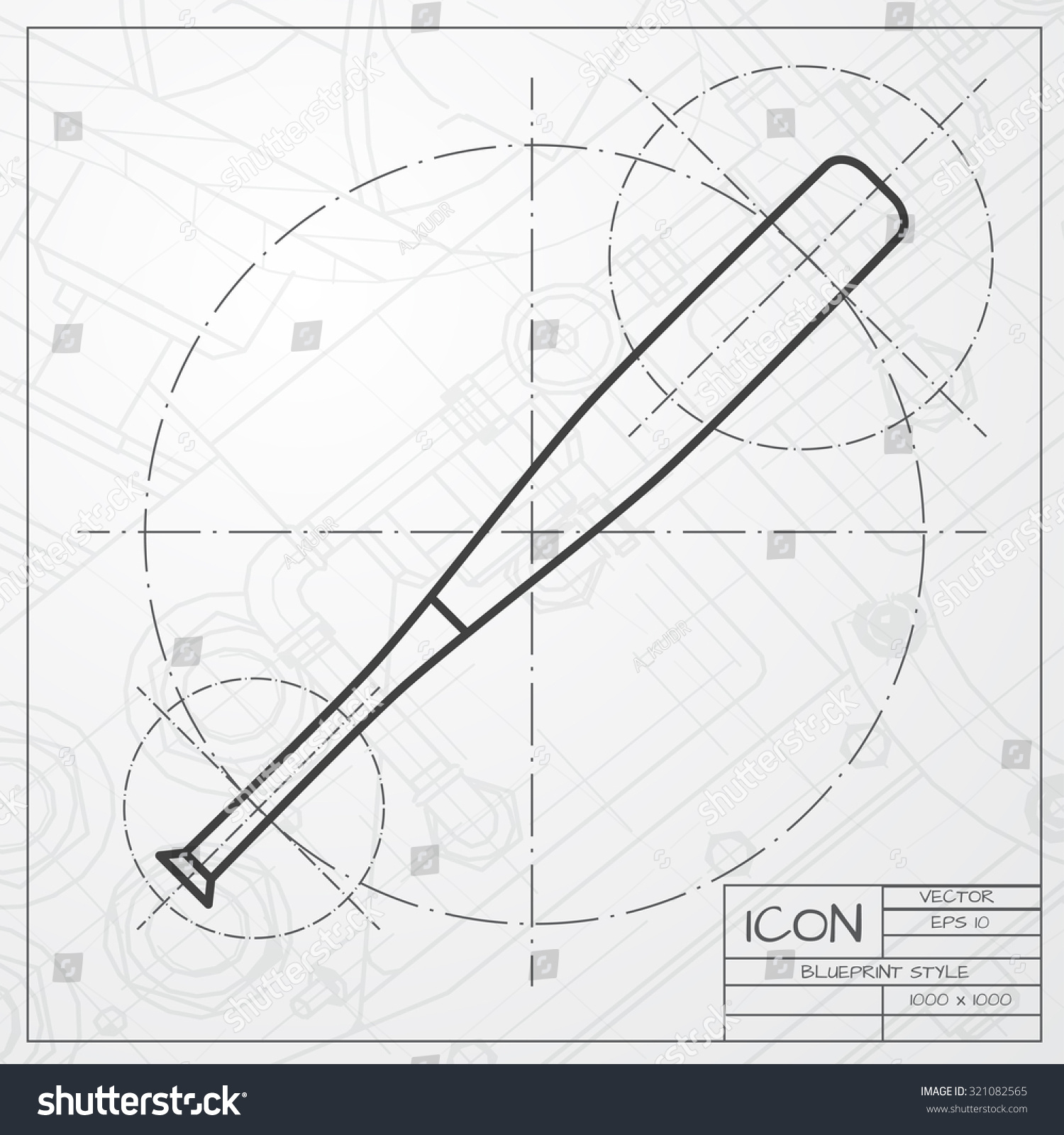 hight resolution of vector classic blueprint of baseball bat icon on engineer and architect background