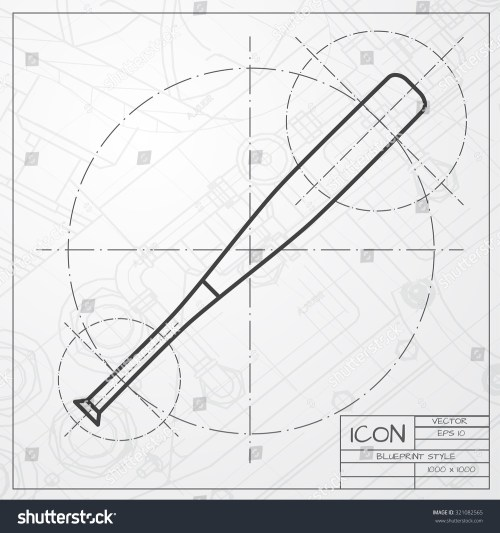 small resolution of vector classic blueprint of baseball bat icon on engineer and architect background