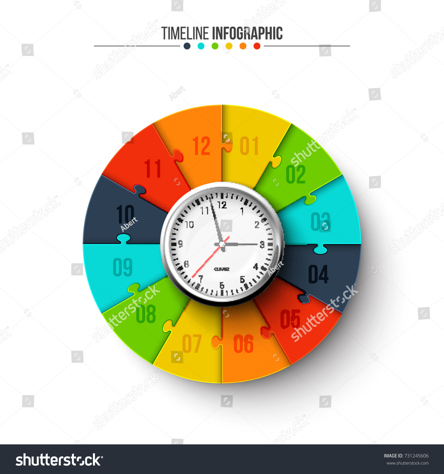 hight resolution of vector clock with circle puzzle for infographic template for timeline diagram graph presentation