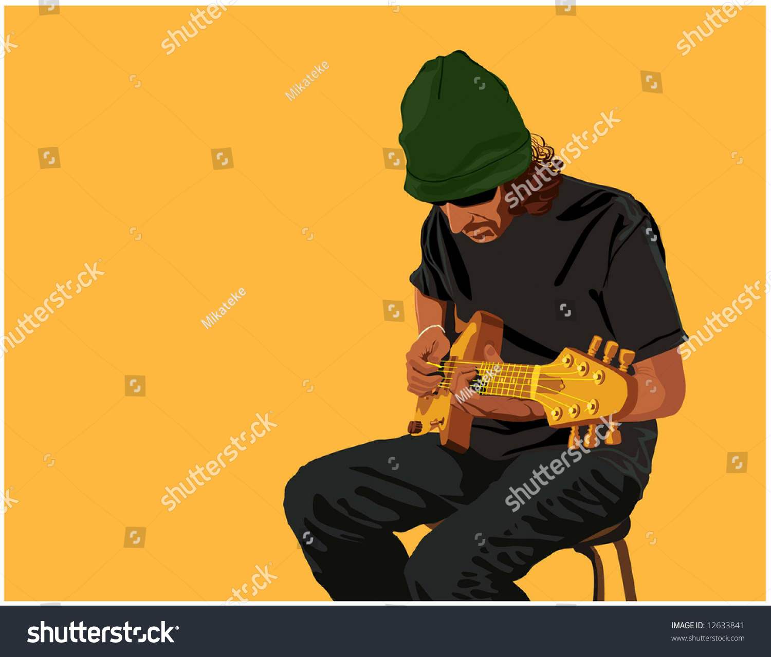 guitar playing chair folding toilet vector color image guitarplayer man sitting stock