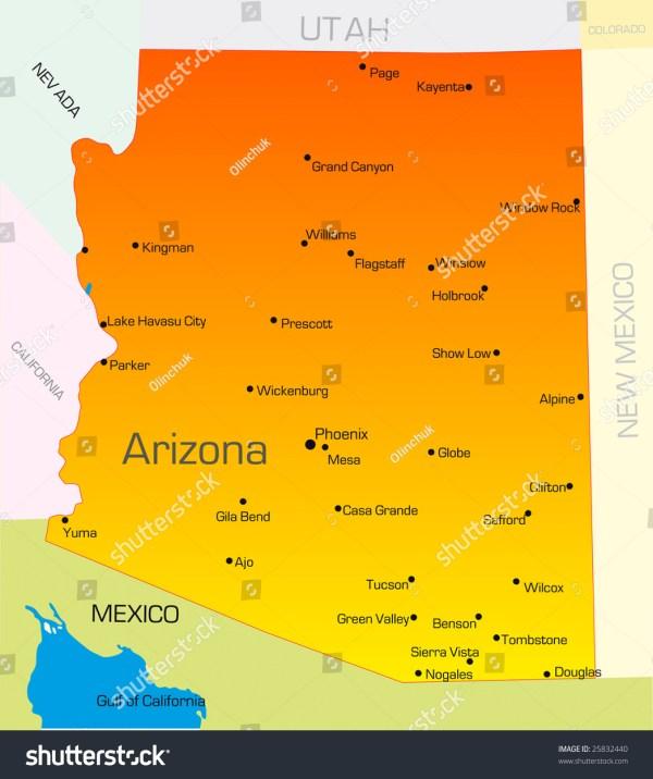 Vector Color Map Arizona State Usa Stock 25832440