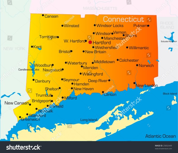 Vector Color Map Of Connecticut State Usa 25832449