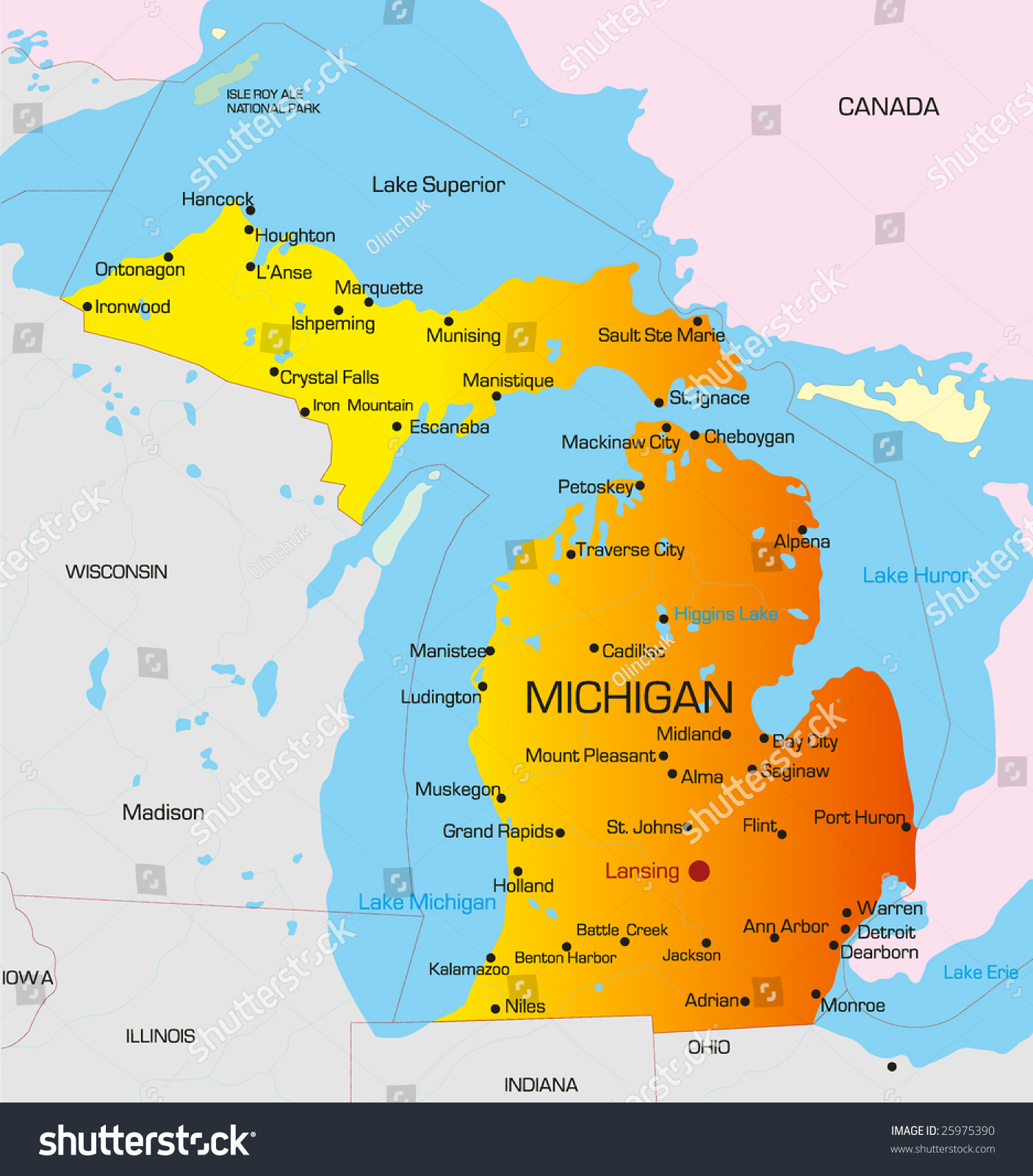 Vector Color Map Michigan State Usa Stock Vector