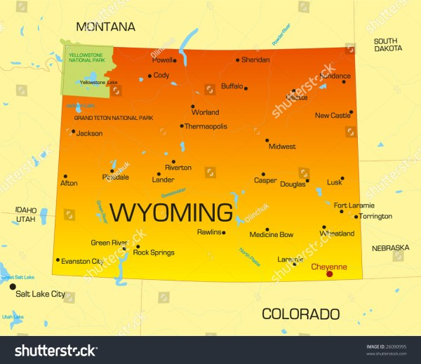 Vector Color Map Of Wyoming State Usa 26090995