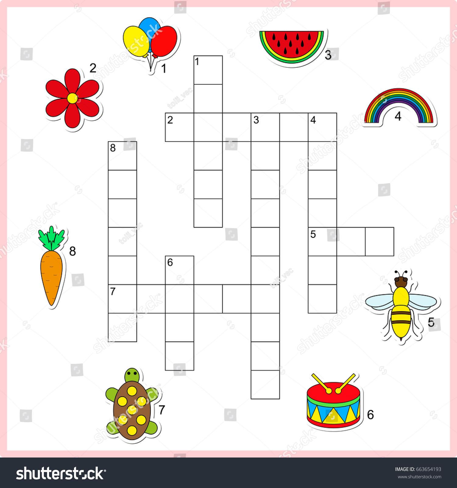 Vector Crossword Worksheet Preschool Kids Educational
