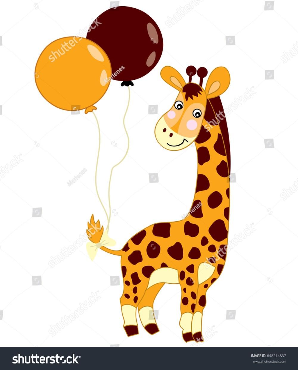 medium resolution of vector cute baby giraffe with balloons on white background giraffe clipart giraffe vector illustration