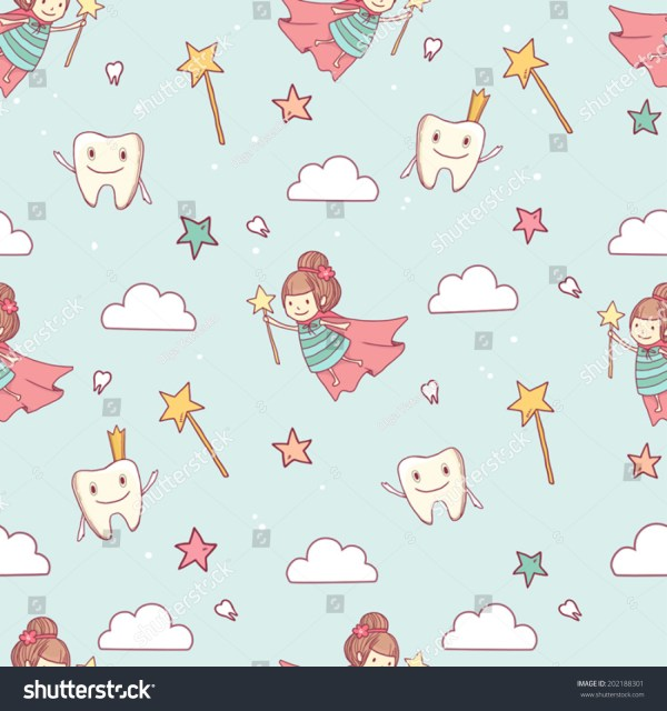 Vector Cute Little Tooth Fairy Wand Stock Vector 202188301