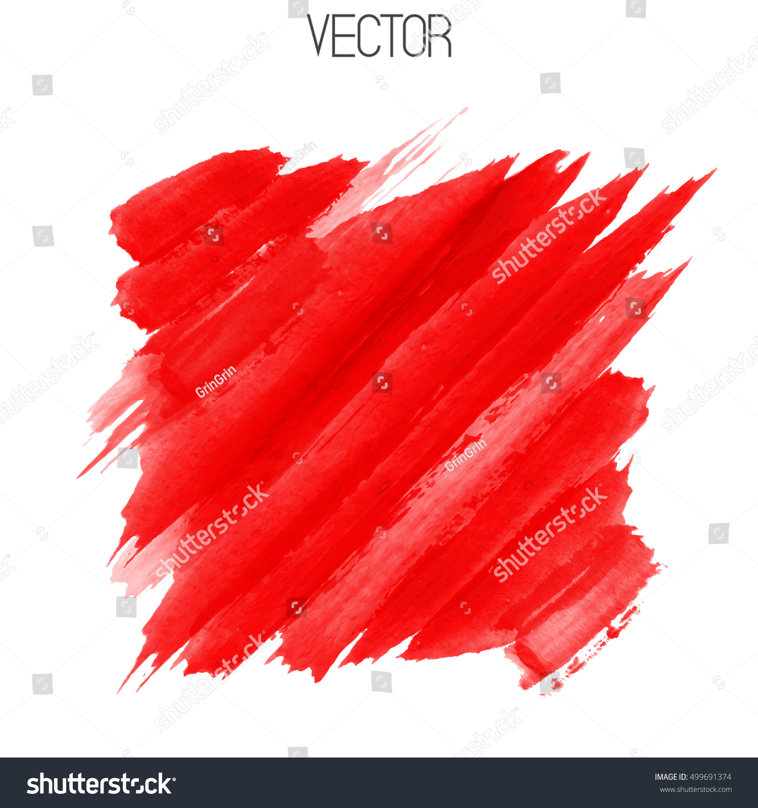 Vector Diagonal Bright Red Brush Strokes Stock Vector