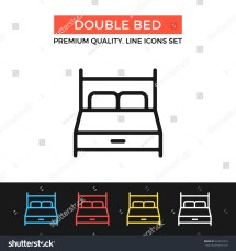 Vector Double Bed Icon Hotel Room Stock 523619419