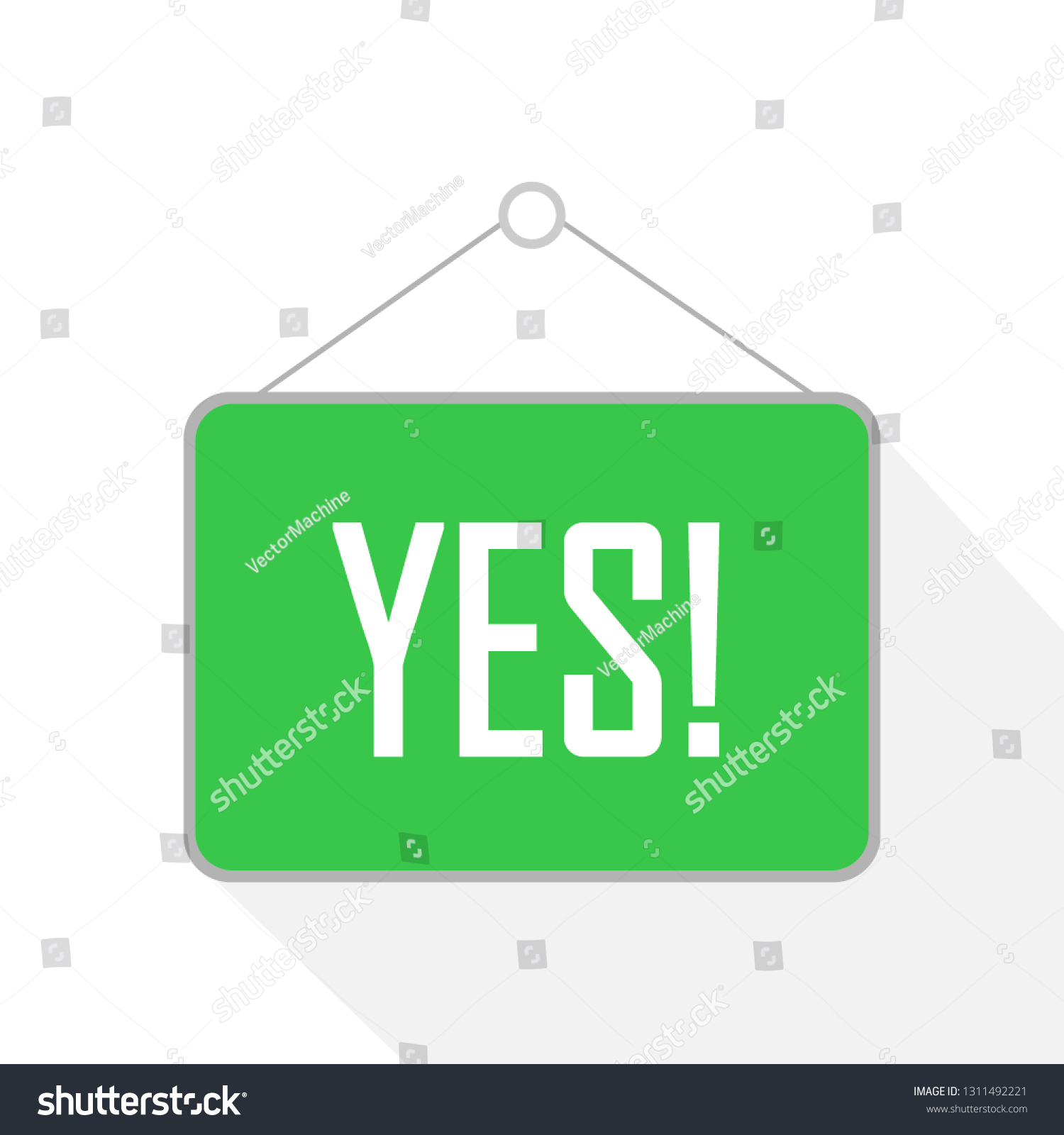 hight resolution of vector drawing of rope hanging wooden sign board with business text yes