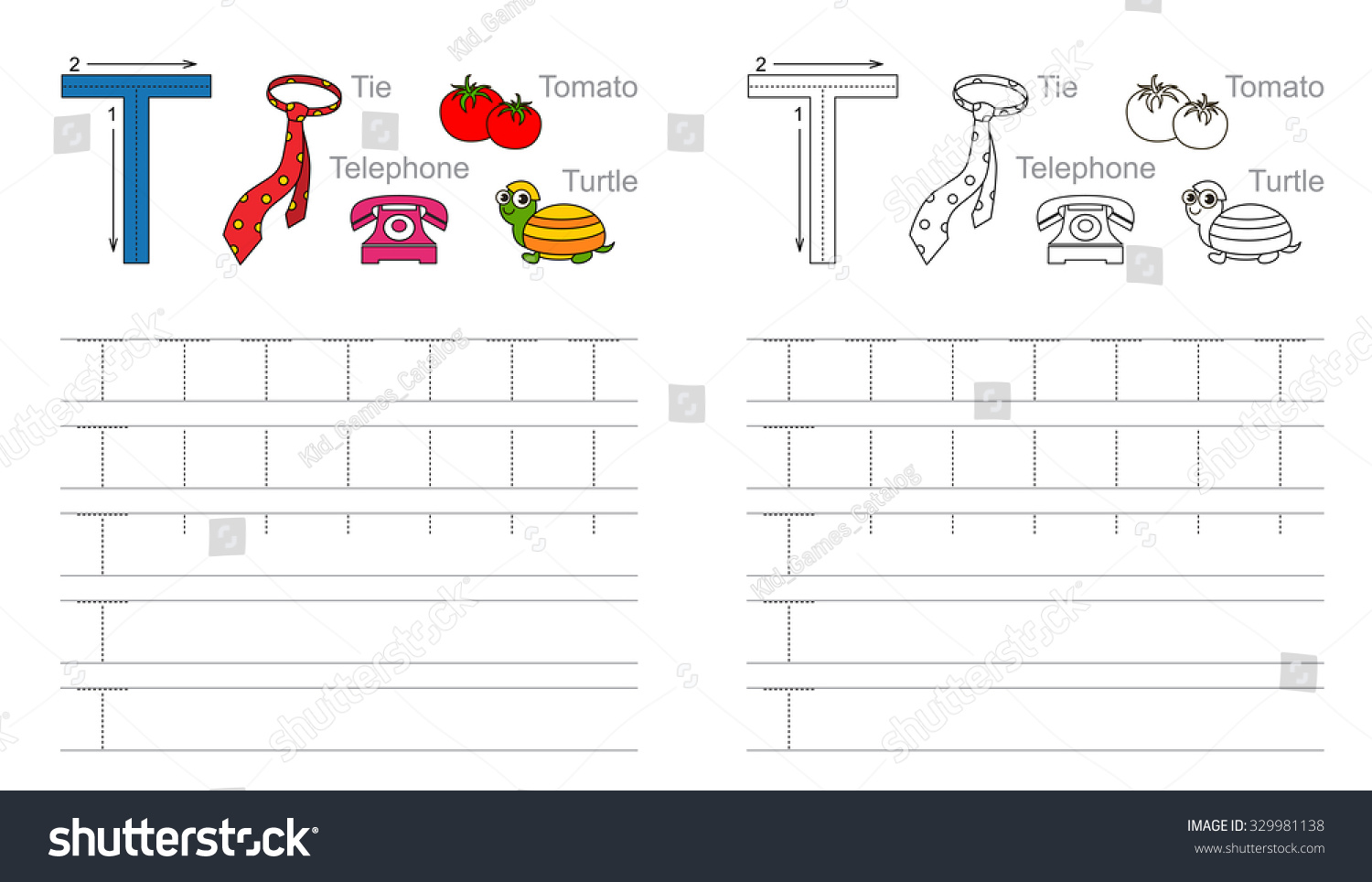 Vector Exercise Illustrated Alphabet Learn Handwriting Stock Vector
