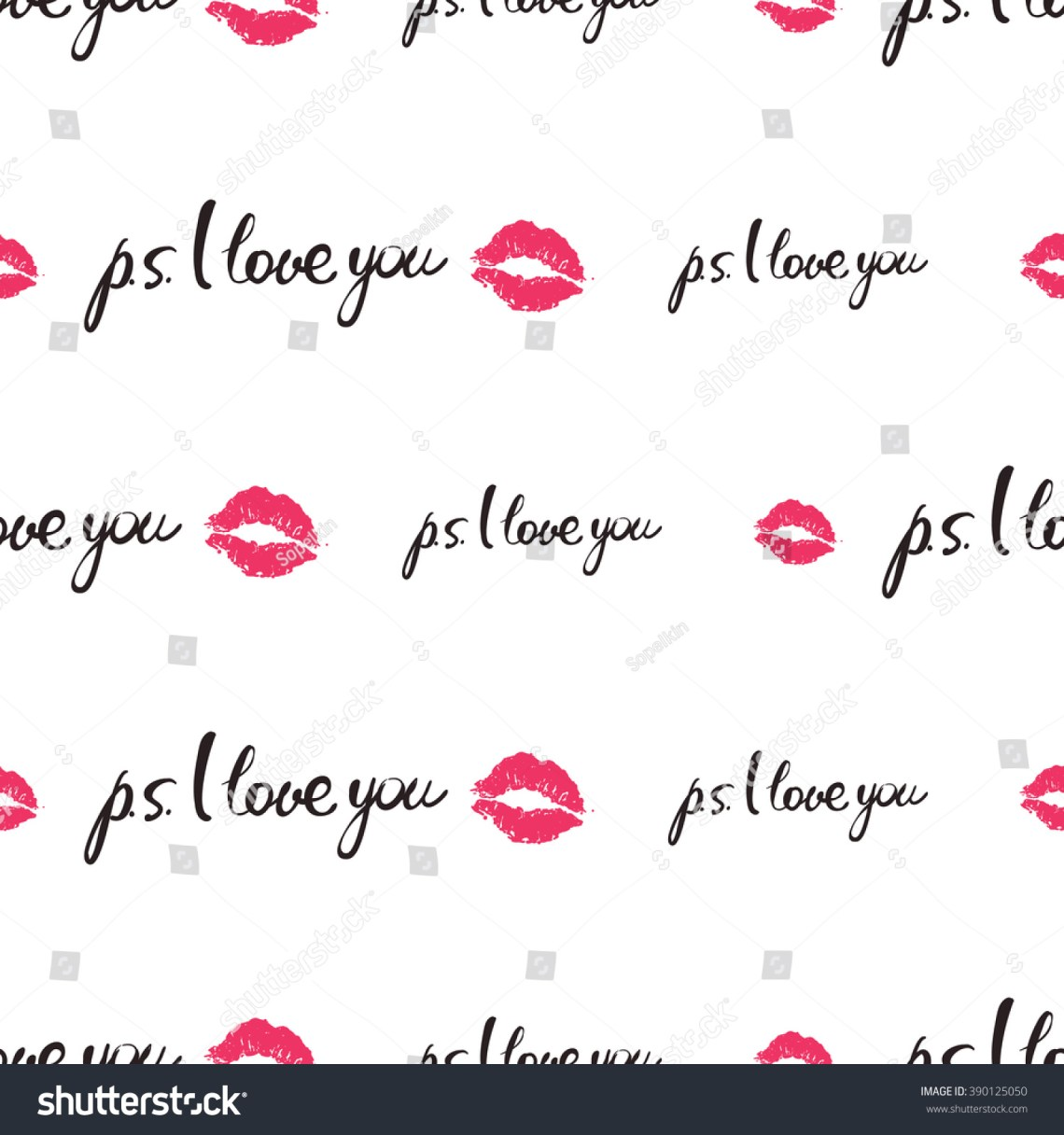 Download Vector Fashion Sketch. Hand Drawn Sing Ps I Love You, Lips ...
