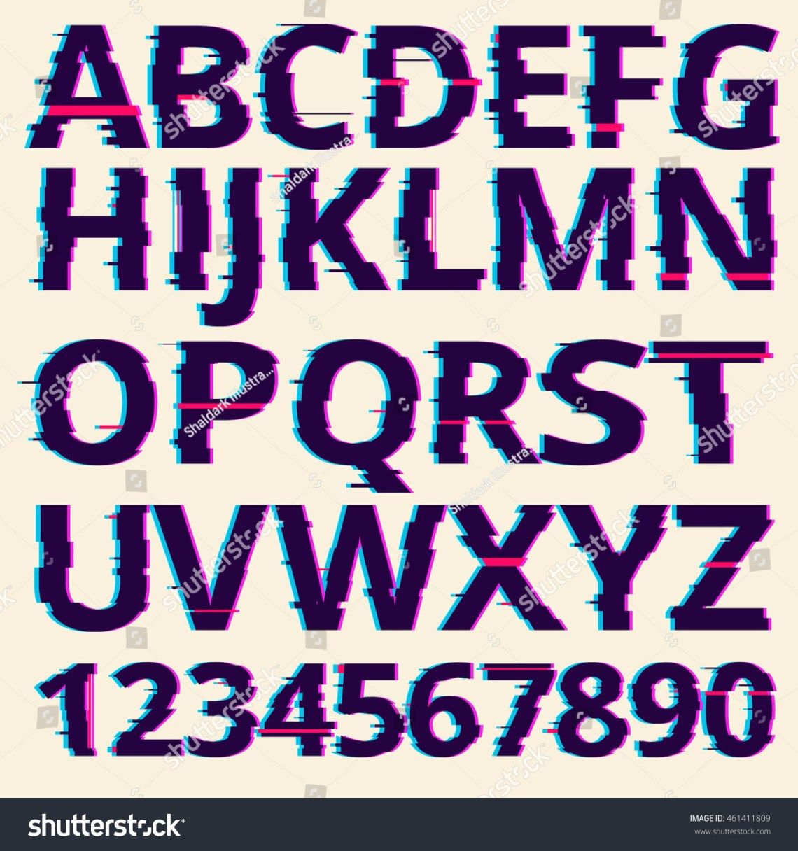 Download Vector Glitch Fonts Pack. Glitch Font Illustration ...