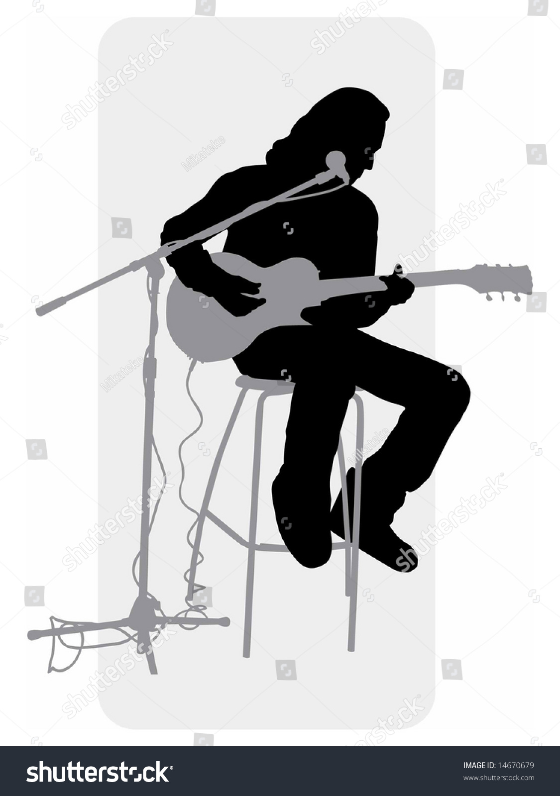 guitar playing chair hydraulic accessories vector grayscale silhouette image player stock